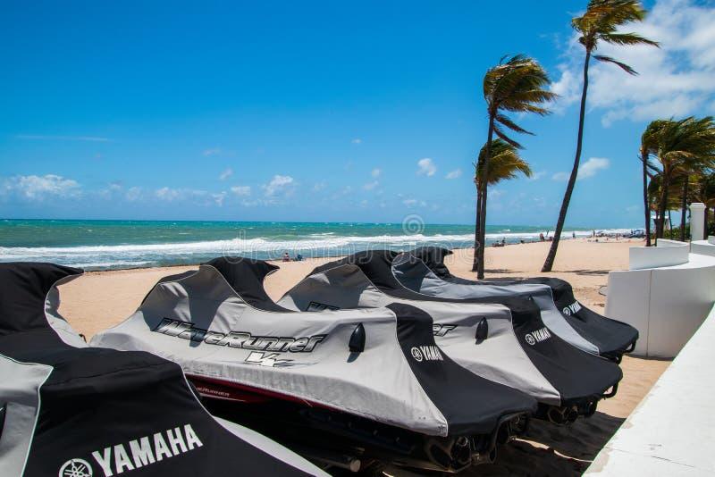 喷气机行在远离海洋的一个海滩滑雪 有棕榈树和一蓝绿色海洋和深天空蔚蓝与白色松 免版税图库摄影