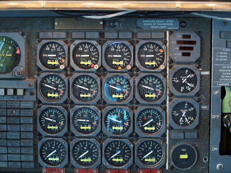 喷气机飞机驾驶舱设备 库存照片