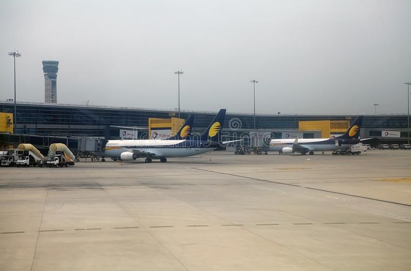 喷气航空公司在新德里机场,印度 免版税库存图片