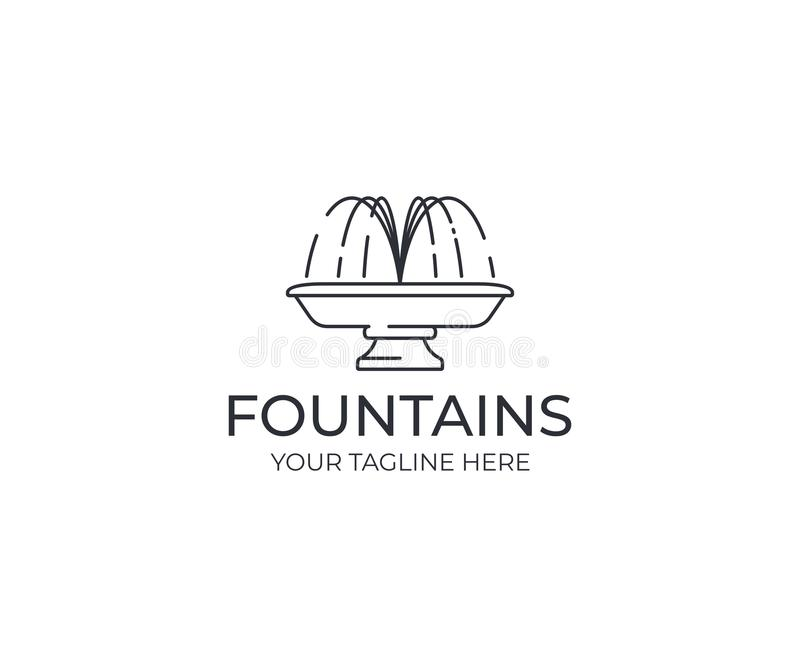 喷水的喷泉商标模板 线性喷泉剪影传染媒介设计 向量例证