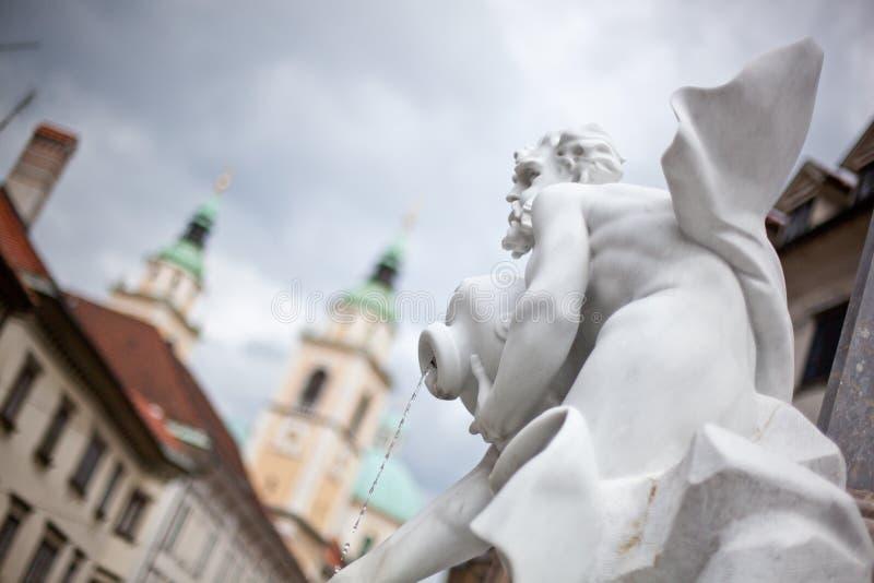 喷泉卢布尔雅那robba s斯洛文尼亚 免版税库存图片