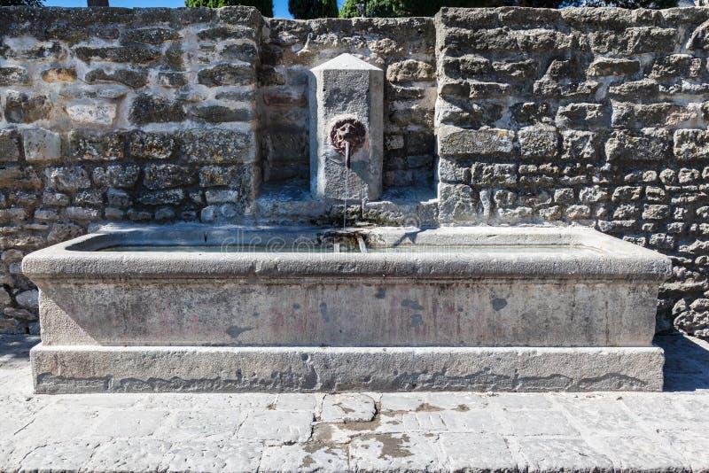 喷泉在卡尔卡松 库存照片