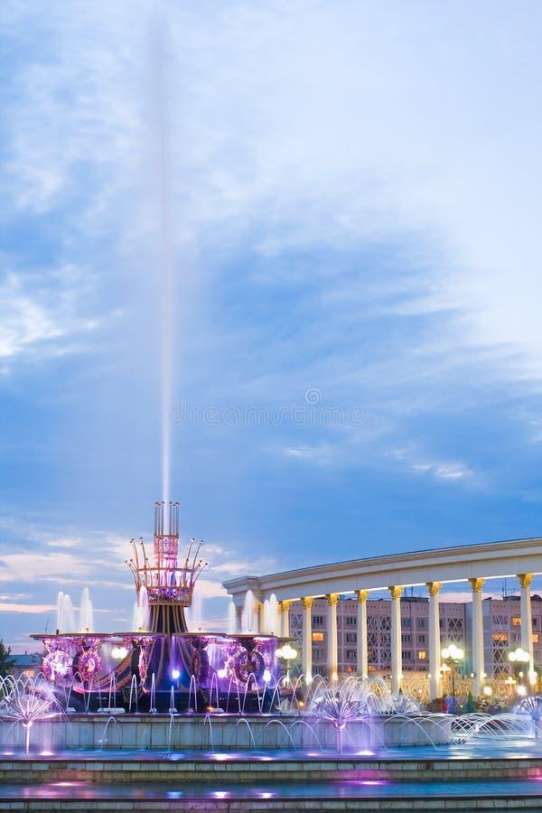 喷泉在卡扎克斯坦,阿尔玛蒂国家公园  图库摄影