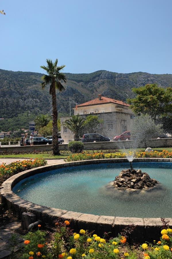 喷泉在古城科托尔,黑山,欧洲 免版税库存照片