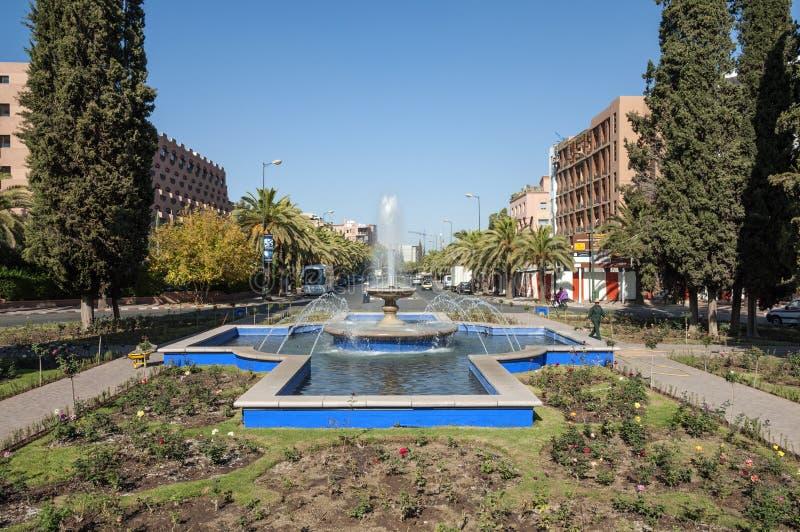 喷泉在市马拉喀什 库存照片