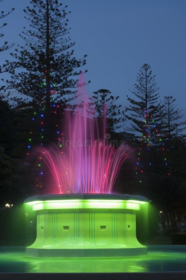 喷泉在晚上 库存图片
