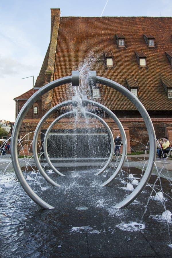 喷泉在格但斯克 波兰 库存照片