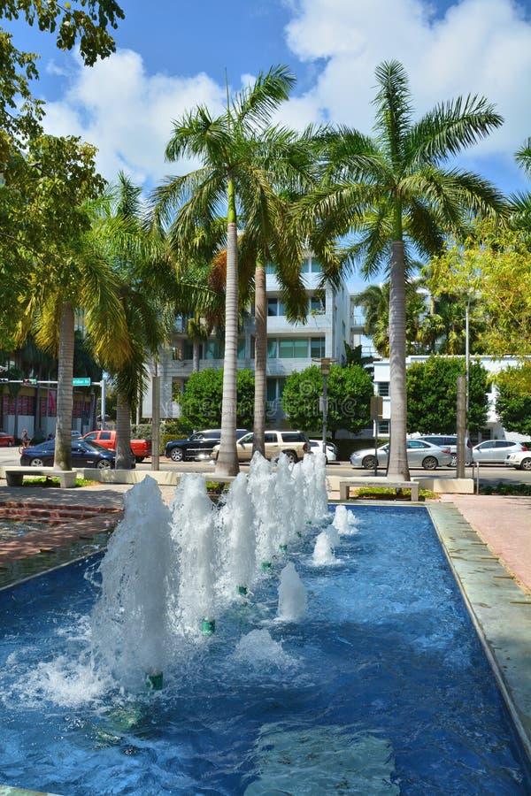 喷泉在迈阿密海滩 图库摄影