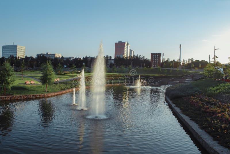 喷泉在顿涅茨克 库存图片