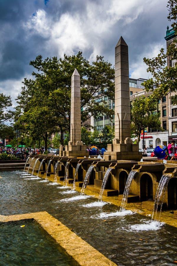 喷泉在Copley广场,在波士顿,马萨诸塞 库存照片