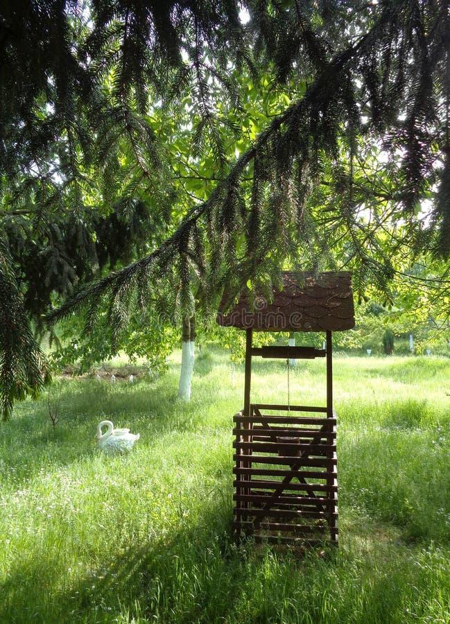 喷泉在Feredeu修道院,春天,阿拉德县,罗马尼亚庭院里  免版税库存照片