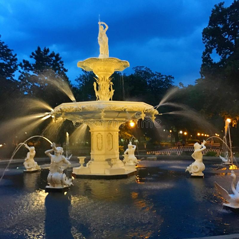 喷泉在Forsyth公园,大草原 库存照片