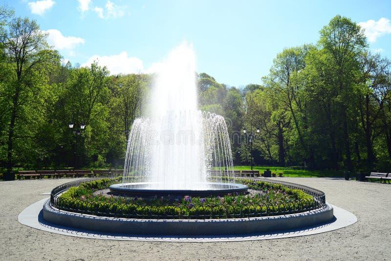 喷泉在Uzupis公园在维尔纽斯镇 图库摄影