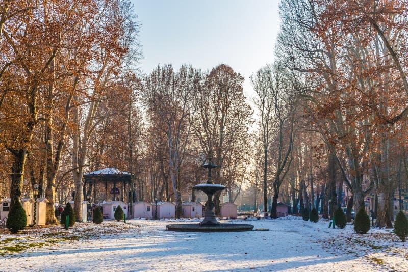 喷泉在Zrinjevac市公园-萨格勒布,克罗地亚 图库摄影