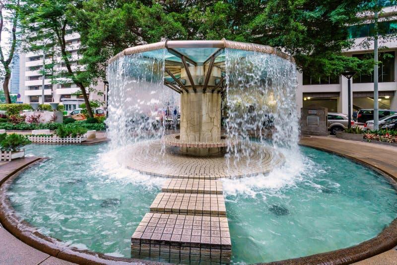 喷泉广场在香港园 免版税库存图片