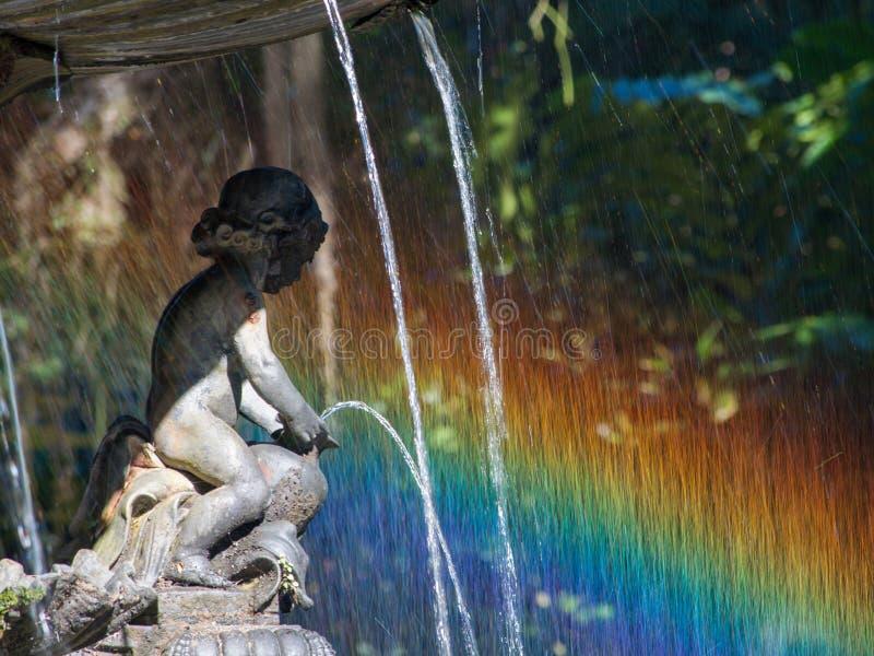 喷泉彩虹 免版税图库摄影