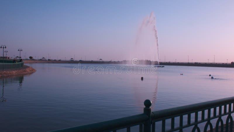 喷泉晚上视图在湖的 库存图片