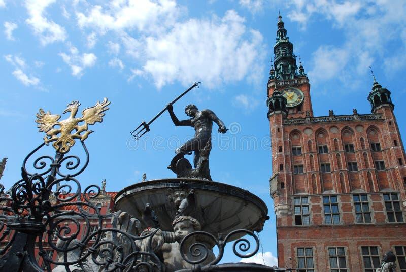 喷泉格但斯克海王星波兰 免版税库存图片