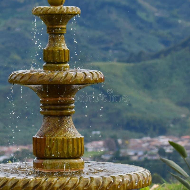喷泉特写镜头在繁茂花园里 库存图片