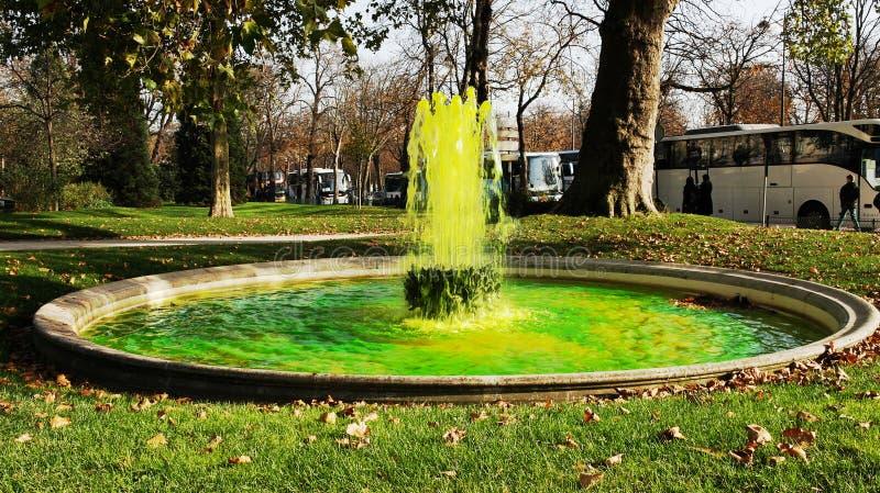 喷泉用绿色水在巴黎 库存图片