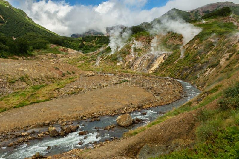 喷泉谷的Geysernaya河  库存照片