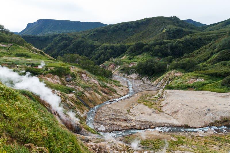喷泉谷 克罗诺基火山自然保护 堪察加 俄国 免版税库存照片
