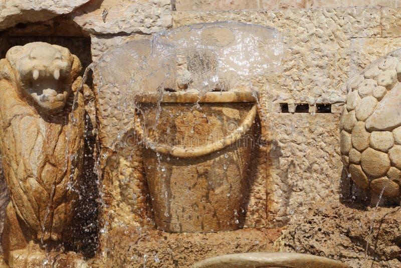 喷泉黄道十二宫的片段-宝瓶星座,贾法角, 免版税库存图片
