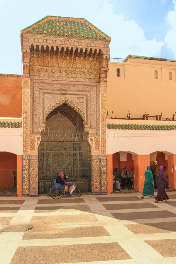 喷泉 Zaouia sidi贝耳神父 马拉喀什 摩洛哥 图库摄影