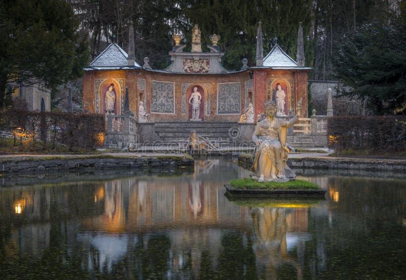 喷泉Schloss Hellbrunn宫殿,萨尔茨堡 免版税库存图片