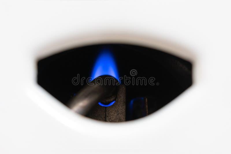 喷管和火燃气锅炉特写镜头 免版税库存图片