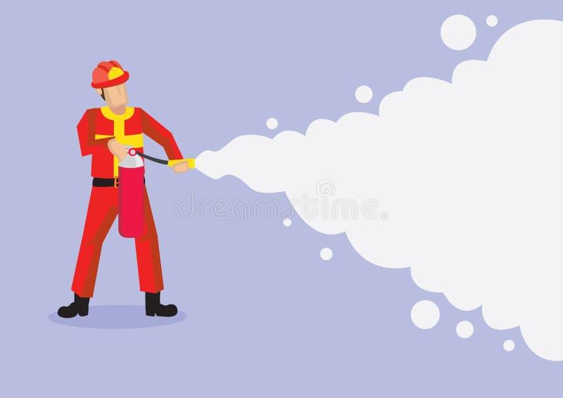喷洒消火泡沫传染媒介动画片Illustrati的消防队员 皇族释放例证
