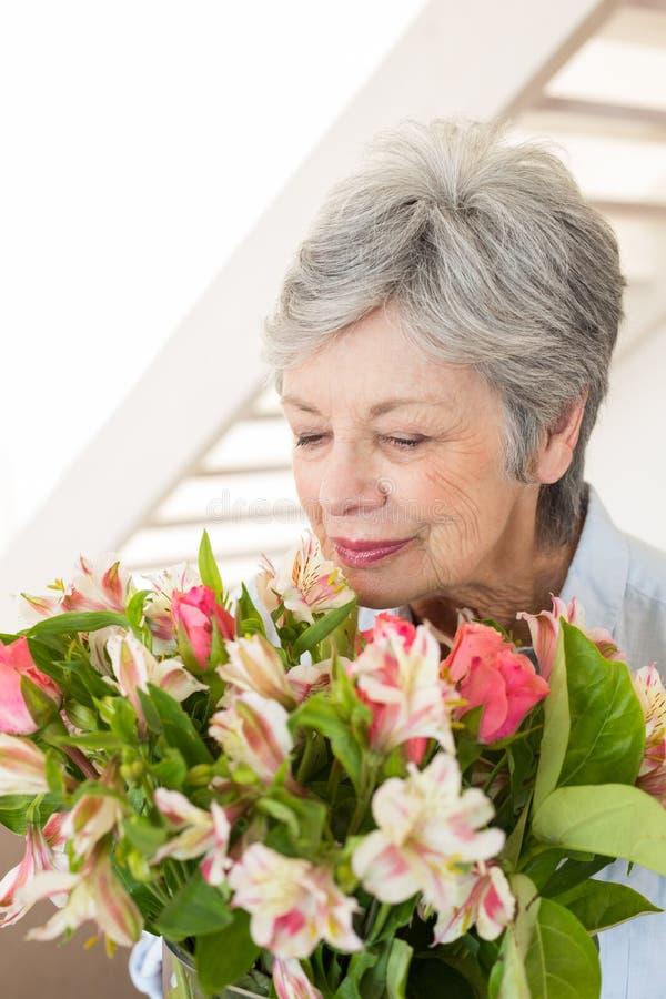嗅到花的她的花束退休的妇女 库存图片