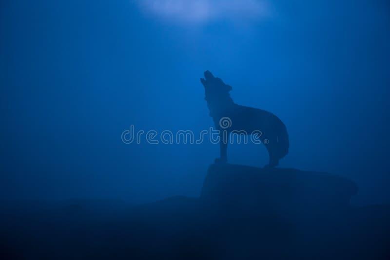 嗥叫狼剪影反对黑暗的被定调子的有雾的背景的 万圣节恐怖概念 免版税图库摄影