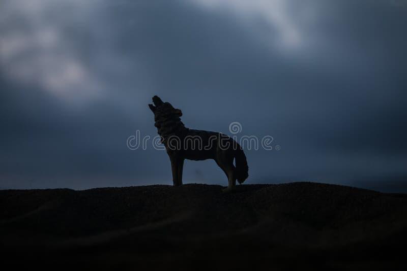 嗥叫狼剪影反对黑暗的被定调子的有雾的背景的 万圣节恐怖概念 免版税库存照片
