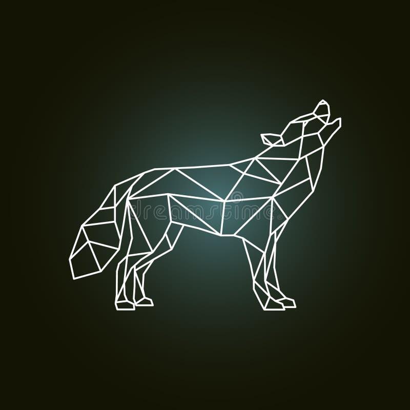 嗥叫狼的几何剪影 向量例证