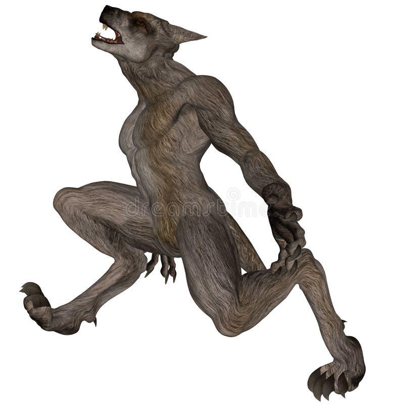 嗥叫的狼人 向量例证