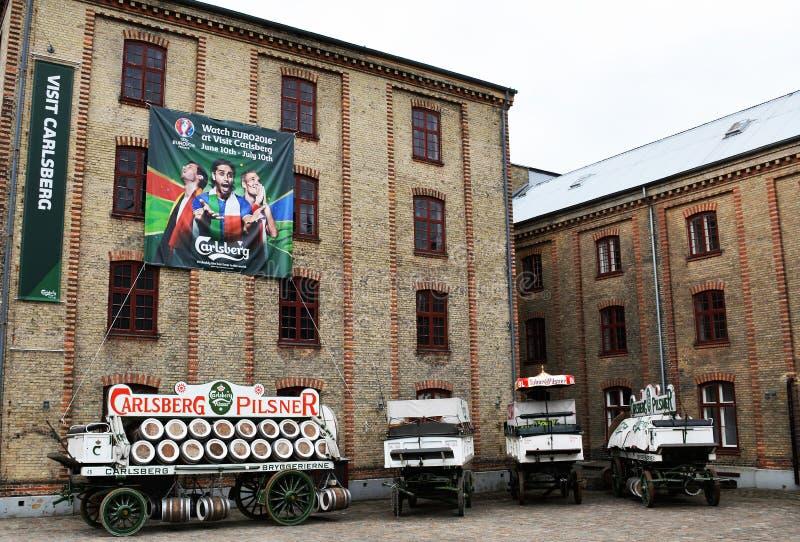 嘉士伯啤酒厂的庭院在哥本哈根 免版税库存图片