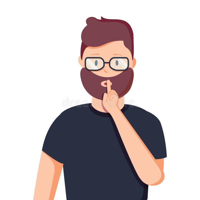 嘘姿态是更加安静的 男性秘密的概念 一个人请求沈默 在动画片样式的传染媒介例证 库存例证