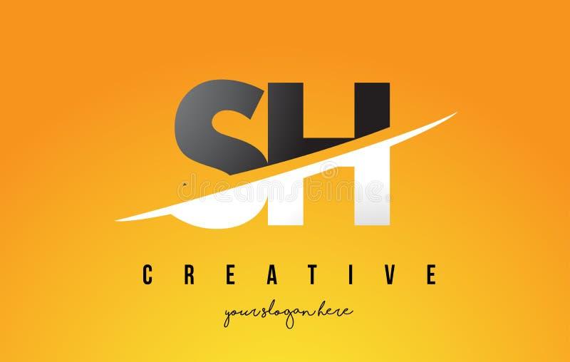 嘘S H信件现代商标设计有黄色背景和Swoo 库存例证