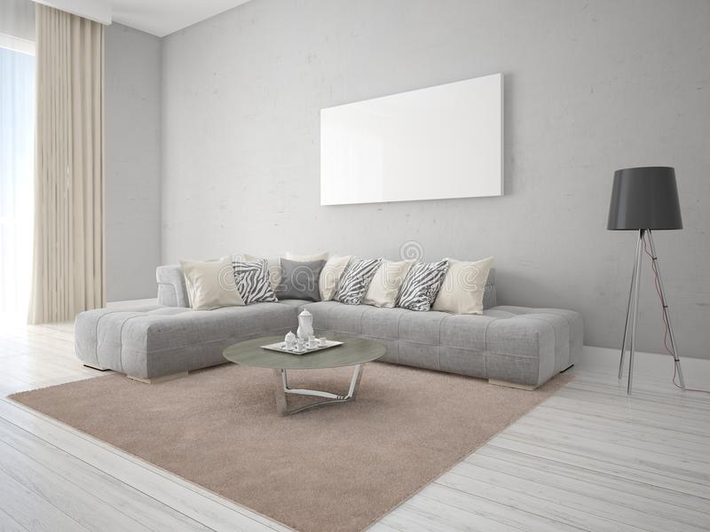 嘲笑一个最低纲领派样式的客厅与壁角沙发 向量例证