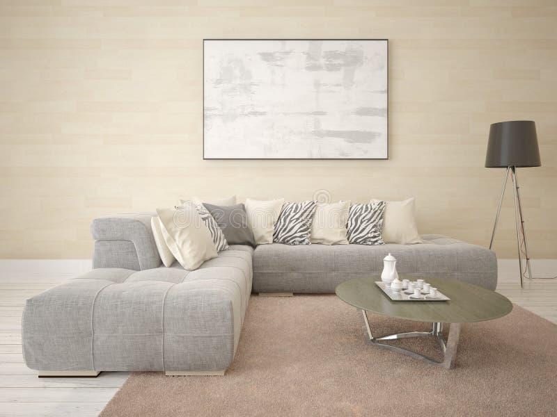 嘲笑一个现代样式的客厅与壁角舒适的沙发 向量例证