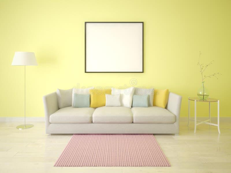 嘲笑一个现代客厅的海报有一个时髦的沙发的 向量例证