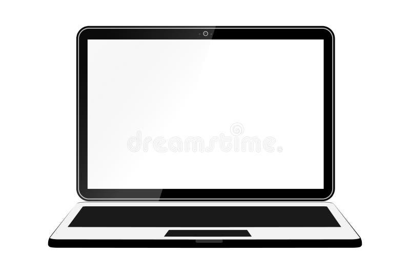 嘲笑一台空的现实膝上型计算机 便携式计算机的设计 背景查出的白色 向量 皇族释放例证