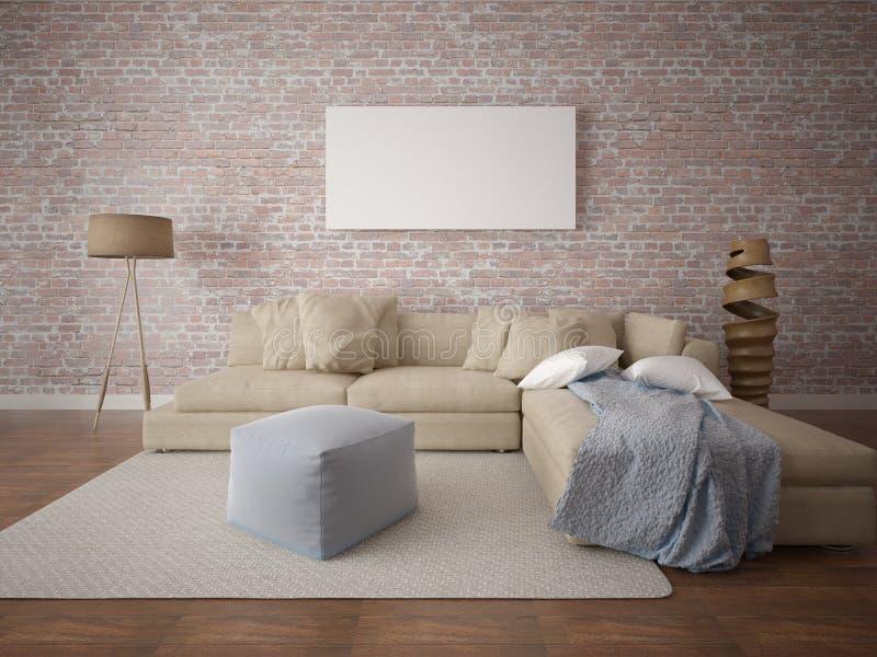 嘲笑与一个大舒适的沙发的海报空的框架 库存例证