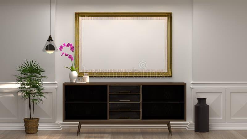 嘲笑与木内阁的空的照片框架有在空的白色墙壁装饰项目最小的样式前面的灯的在空的屋子里 免版税库存照片