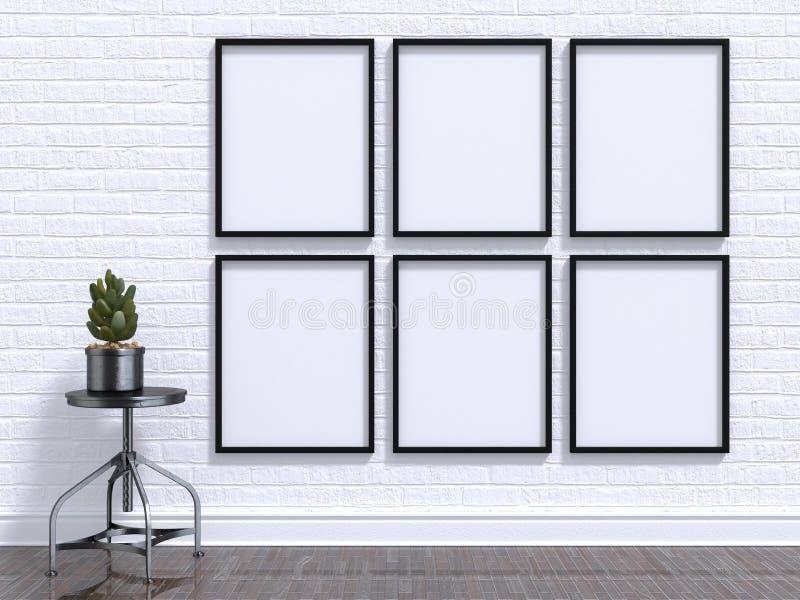 嘲笑与植物、凳子、地板和墙壁的照片框架 3d回报 免版税图库摄影