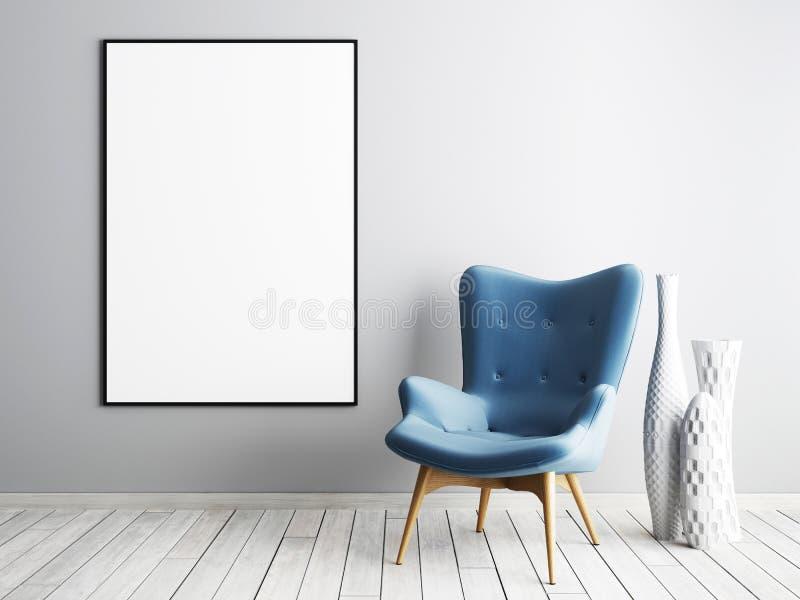 嘲笑与蓝色扶手椅子和金属桌的海报框架在simpl 向量例证