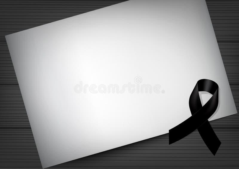 嘲笑与黑尊敬丝带和纸的哀悼的标志在木背景横幅 在和平葬礼卡片传染媒介的休息 皇族释放例证