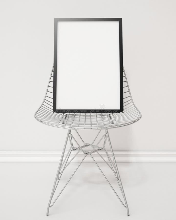 嘲笑与黑框架在导线椅子,背景的空白的海报 皇族释放例证