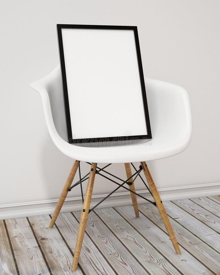 嘲笑与黑框架在椅子,背景的空白的海报 免版税图库摄影